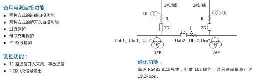 用于进线开关和/或内桥开关自投装置,适用于如下图所示的主接线系统.
